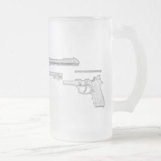 92FS Disassembled 16 Oz Frosted Glass Beer Mug