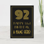 """[ Thumbnail: 92nd Birthday: Art Deco Inspired Look """"92"""" & Name Card ]"""