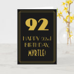 """[ Thumbnail: 92nd Birthday ~ Art Deco Inspired Look """"92"""" & Name Card ]"""
