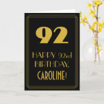 """[ Thumbnail: 92nd Birthday – Art Deco Inspired Look """"92"""" & Name Card ]"""