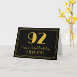 "[ Thumbnail: 92nd Birthday: Art Deco Inspired Look ""92"" + Name Card ]"