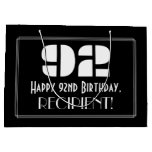 "[ Thumbnail: 92nd Birthday ~ Art Deco Inspired Look ""92"" + Name Gift Bag ]"