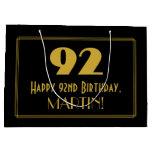 "[ Thumbnail: 92nd Birthday — Art Deco Inspired Look ""92"" & Name Gift Bag ]"