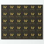 """[ Thumbnail: 92nd Birthday ~ Art Deco Inspired Look """"92"""", Name Wrapping Paper ]"""