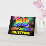 [ Thumbnail: 92nd Birthday: Bold, Fun, Fireworks, Rainbow 92 Card ]