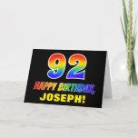 [ Thumbnail: 92nd Birthday: Bold, Fun, Simple, Rainbow 92 Card ]