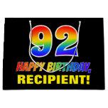 [ Thumbnail: 92nd Birthday: Bold, Fun, Simple, Rainbow 92 Gift Bag ]