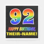 [ Thumbnail: 92nd Birthday: Bold, Fun, Simple, Rainbow 92 Napkins ]