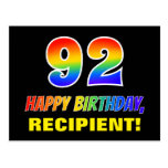 [ Thumbnail: 92nd Birthday: Bold, Fun, Simple, Rainbow 92 Postcard ]