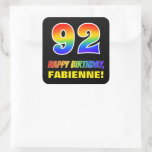 [ Thumbnail: 92nd Birthday: Bold, Fun, Simple, Rainbow 92 Sticker ]