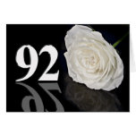 92nd Birthday Card with a classic white rose