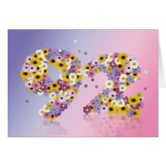 92nd birthday card with flowery letters