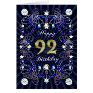 92nd birthday card with masses of jewels