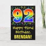 [ Thumbnail: 92nd Birthday: Colorful Music Symbols + Rainbow 92 Card ]