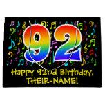 [ Thumbnail: 92nd Birthday - Colorful Music Symbols, Rainbow 92 Gift Bag ]