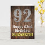 [ Thumbnail: 92nd Birthday: Country Western Inspired Look, Name Card ]