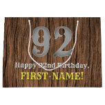 [ Thumbnail: 92nd Birthday: Country Western Inspired Look, Name Gift Bag ]