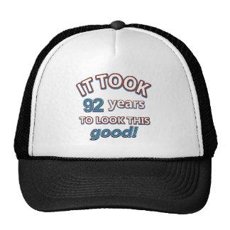 92nd birthday designs trucker hat