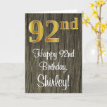 [ Thumbnail: 92nd Birthday: Elegant Faux Gold Look #, Faux Wood Card ]