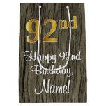 [ Thumbnail: 92nd Birthday: Elegant Faux Gold Look #, Faux Wood Gift Bag ]