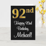 [ Thumbnail: 92nd Birthday ~ Elegant Luxurious Faux Gold Look # Card ]