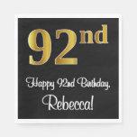 [ Thumbnail: 92nd Birthday ~ Elegant Luxurious Faux Gold Look # Napkins ]