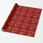 [ Thumbnail: 92nd Birthday: Elegant, Red, Faux Gold Look Wrapping Paper ]