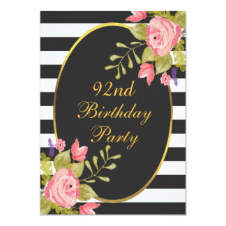 92nd Birthday Floral Black White Stripes Gold Foil Card