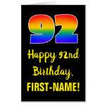 [ Thumbnail: 92nd Birthday: Fun, Colorful, Happy, Rainbow # 92 Card ]