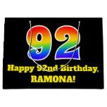 [ Thumbnail: 92nd Birthday ~ Fun, Colorful, Vibrant, Rainbow 92 Gift Bag ]