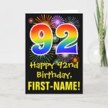 [ Thumbnail: 92nd Birthday: Fun Fireworks Pattern + Rainbow 92 Card ]