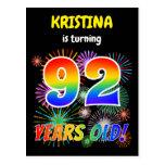 "[ Thumbnail: 92nd Birthday - Fun Fireworks, Rainbow Look ""92"" Postcard ]"