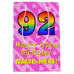 [ Thumbnail: 92nd Birthday: Fun Pink Hearts Stripes; Rainbow 92 Gift Bag ]