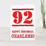 [ Thumbnail: 92nd Birthday: Fun, Red Rubber Stamp Inspired Look Card ]