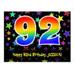 [ Thumbnail: 92nd Birthday: Fun Stars Pattern, Rainbow 92, Name Postcard ]