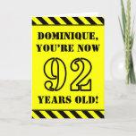 [ Thumbnail: 92nd Birthday: Fun Stencil Style Text, Custom Name Card ]