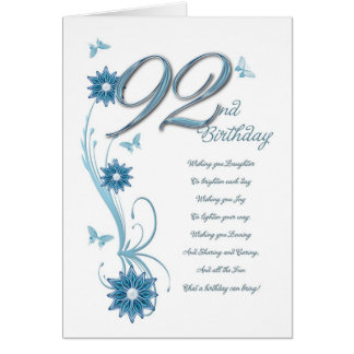 92nd birthday in teal with flowers and butterfly card