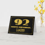 """[ Thumbnail: 92nd Birthday: Name + Art Deco Inspired Look """"92"""" Card ]"""
