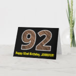 "[ Thumbnail: 92nd Birthday: Name + Faux Wood Grain Pattern ""92"" Card ]"