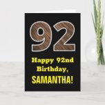 "[ Thumbnail: 92nd Birthday: Name, Faux Wood Grain Pattern ""92"" Card ]"