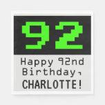 "[ Thumbnail: 92nd Birthday - Nerdy / Geeky Style ""92"" & Name Napkins ]"