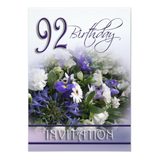 92nd Birthday Party Invitation - Blue bouquet