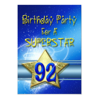 92nd Birthday party Invitation for a Superstar.