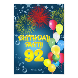 92nd Birthday party Invitation with balloons