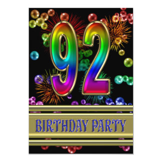 92nd Birthday party Invitation with bubbles