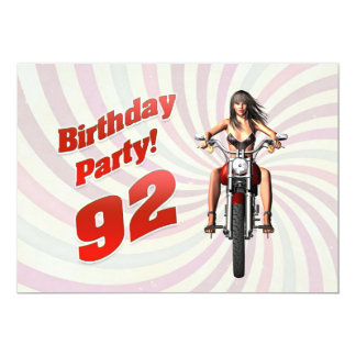 92nd birthday party with a girl on a motorbike card