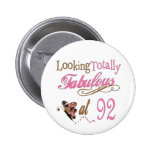 92nd Birthday Pinback Buttons