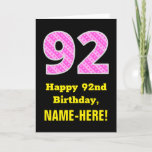 "[ Thumbnail: 92nd Birthday: Pink Stripes and Hearts ""92"" + Name Card ]"