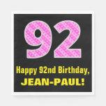 "[ Thumbnail: 92nd Birthday: Pink Stripes and Hearts ""92"" + Name Napkins ]"