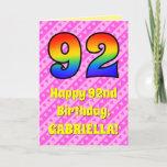 [ Thumbnail: 92nd Birthday: Pink Stripes & Hearts, Rainbow # 92 Card ]